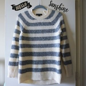 BR Off White Gray Stripes Oversize Knit Sweater S